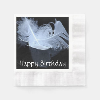 Twin flame feathers and reflection coined cocktail napkin