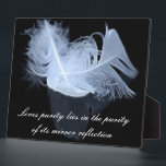 "Twin flame feathers and reflection plaque<br><div class=""desc"">Symbol meaning of feathers deal with ascension and spiritual evolution to a higher plane. Twin Flames are ultimate soul mates who are already paired in the Higher Realm. Twin Flames experience their last lifetime here on earth together. Twin Flames love mutually, unconditionally and without limits. Twin Flames have no doubt...</div>"