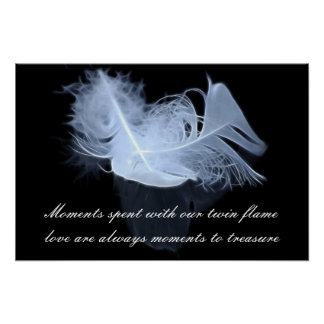 Twin flame feathers and reflection poster