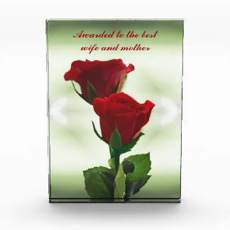 Twin Flame love red roses Acrylic Award