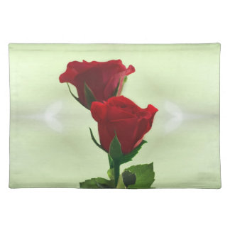 Twin Flame love red roses Cloth Placemat