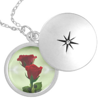 Twin Flame love red roses Silver Plated Necklace