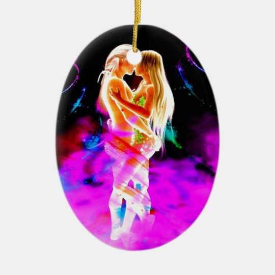 TWIN FLAME psychedelic Ceramic Ornament