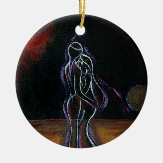 Twin Flames Ornament: Round Ceramic Ornament
