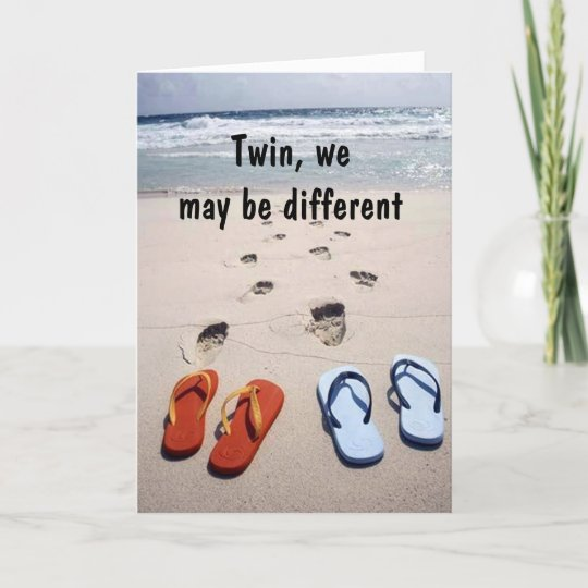 Twin Flip Flop Humor On Your Birthday Card Zazzle