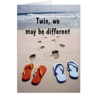 TWIN FLIP-FLOP HUMOR ON YOUR BIRTHDAY GREETING CARD