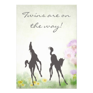 Twin Foals Horse Baby Shower Invitation