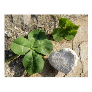Twin Four Leaf Clover Irish Luck St. Patrick's Day Postcard