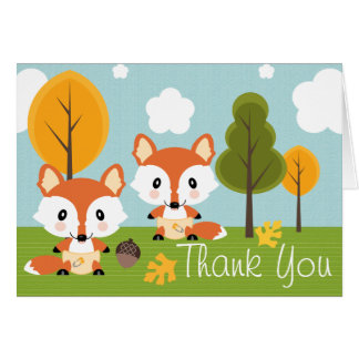 TWIN FOX IN DIAPERS BABY SHOWER THANK YOU STATIONERY NOTE CARD