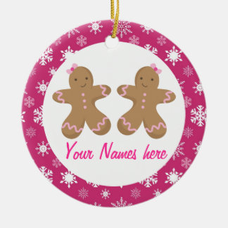 Twin Gingerbread Girls Pink Keepsake Gift Double-Sided Ceramic Round Christmas Ornament