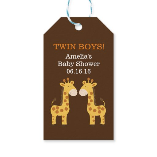 Twin Giraffes Baby Shower Gift Tag