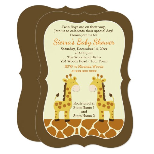 Twin Giraffes Baby Shower Invitation Die Cut