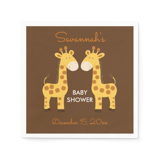 Twin Giraffes Baby Shower Napkin