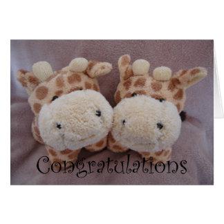 twin giraffes card