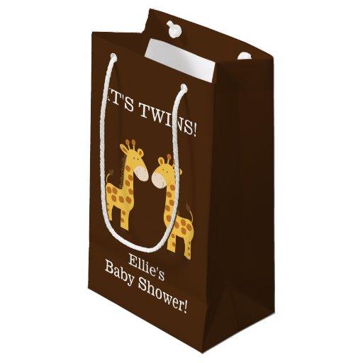 Twin Giraffes Twins Baby Shower Custom Gift Bag