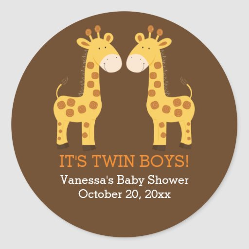 Twin Giraffes Twins Round Favor Sticker
