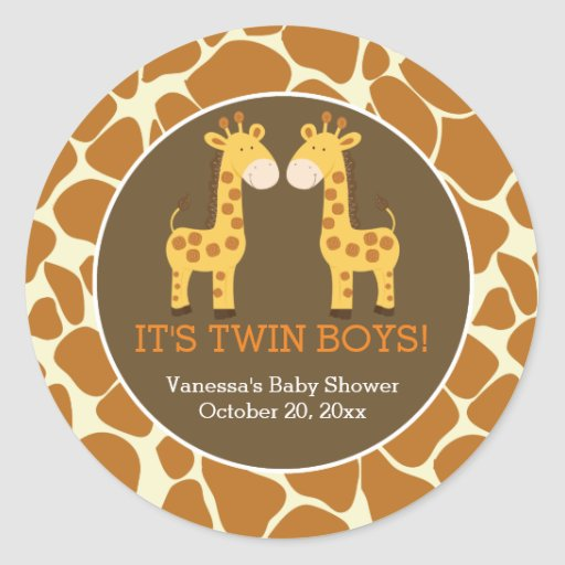 Twin Giraffes with Giraffe Print Favor Sticker