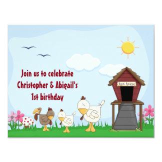 Twin Girl and Boy Chicks 1st Birthday Invitation