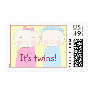 Twin Girl and Boy Postage Stamp