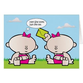 Twin Girl Babies Birth Announcement Birthday Card