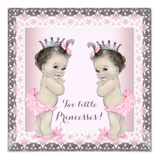 "Twin Girl Baby Shower 5.25"" Square Invitation Card"
