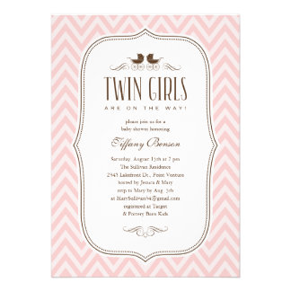 Twin Girl Baby Shower Invitations