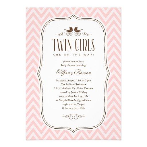 twin girl baby shower invitations 5 x 7 invitation card zazzle