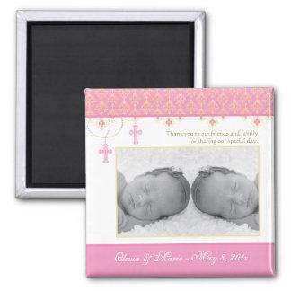 Twin Girl Baptism/Christening Favor - Photo Magnet