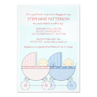 Twin Girl & Boy Carriage Happy Baby Shower Announcement