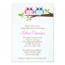 Twin Girl Boy Owls Tree Branch Baby Shower Card