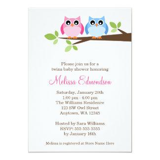 Twin Girl Boy Owls Tree Branch Baby Shower Card