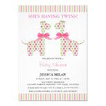 Twin Girl Giraffe Baby Shower 5x7 Paper Invitation Card