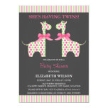 Twin Girl Giraffe Baby Shower Personalized Announcements