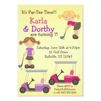 Twin Girl Golfer Golf Birthday Party Invitation
