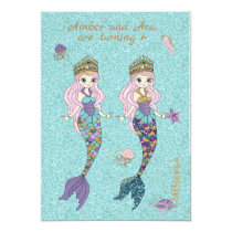 Twin Girl Mermaid Birthday Party Invitations