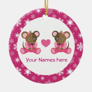 Twin Girl Mouse Pink Christmas Keepsake Gift Double-Sided Ceramic Round Christmas Ornament