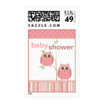 Twin Girl Owl Baby Shower in Pink Postage