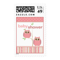 Twin Girl Owl Baby Shower in Pink Stamp