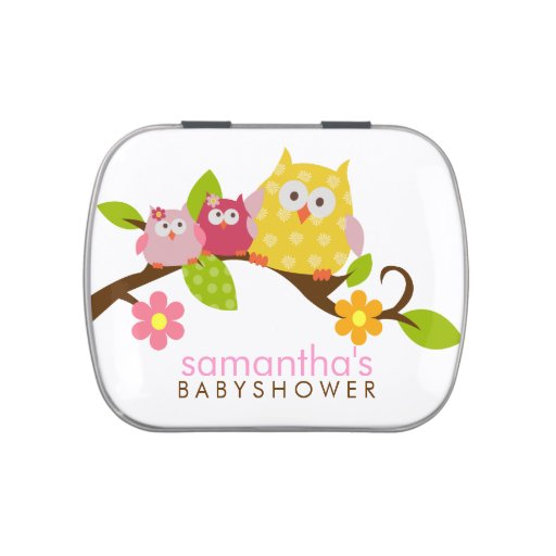 Twin Girl Owls Favor Tin Jelly Belly Candy Tins