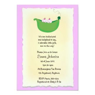 """Twin Girl Peas in a Pod baby shower invite 5"""" X 7"""" Invitation Card"""