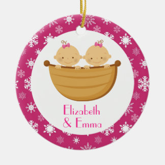 Twin Girl Personalized Christmas Keepsake Gift Double-Sided Ceramic Round Christmas Ornament