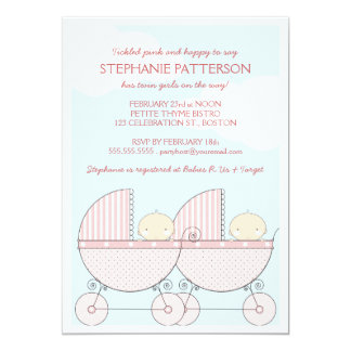 Twin Girl Pink Carriage Happy Baby Shower Card