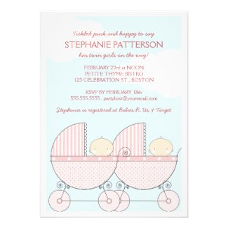 Twin Girl Pink Carriage Happy Baby Shower Personalized Invitations