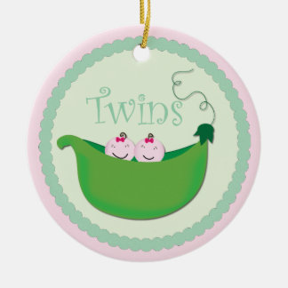 Twin Girl 'Sweet pea' baby shower ornament