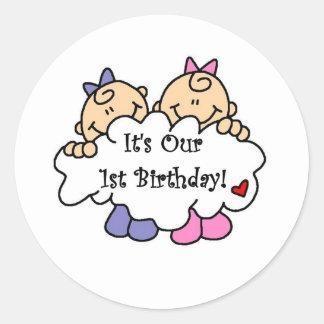 Twin Girls 1st  Birthday Tshirts and Gifts Classic Round Sticker