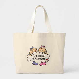 Twin Girls Arrived Large Tote Bag