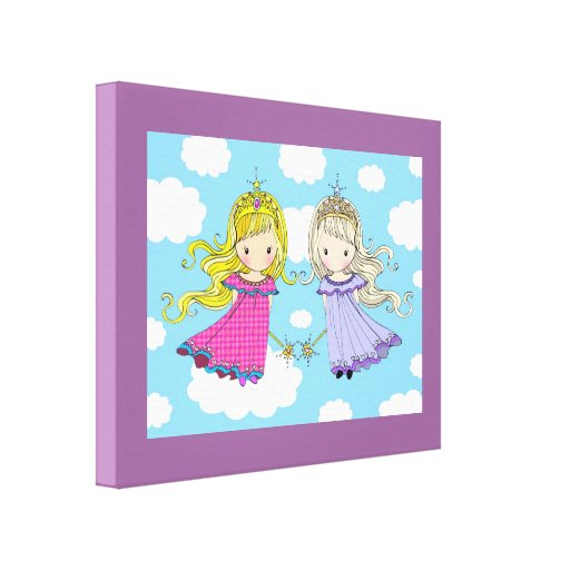 Twin Girls Art for Kids Room Wrapped Canvas Print Zazzle