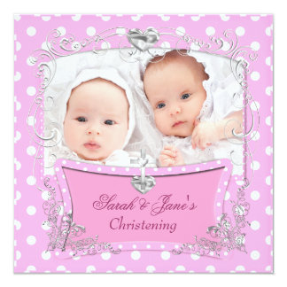 Twin Girls Baby Christening Baptism Pink Card