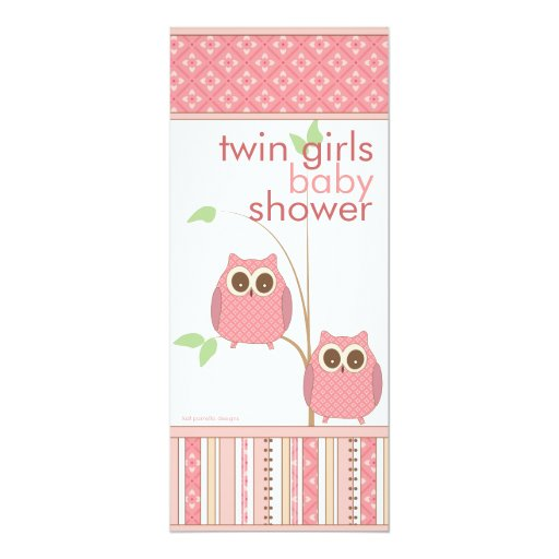 twin girls baby owl pink baby shower card zazzle