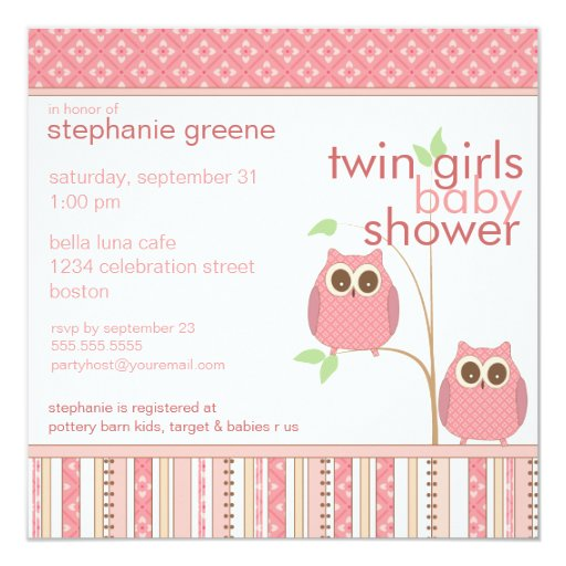 Twin Girls Baby Owl PInk Baby Shower 5.25x5.25 Square Paper Invitation Card